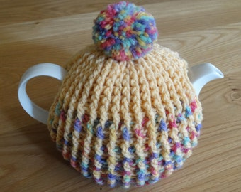 Pure Wool Tea Cosy/Tea Cozy with Pom pom for Teapot in lemon and pastels, Hand Made TO ORDER, Can customise, Teacosy, Teacozy