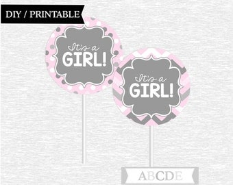 Instant Download Pink and Grey Cupcake Toppers Chevron Polka Dots Baby Shower decorations Its a girl Baby Shower DIY Printable (PDWCH101)