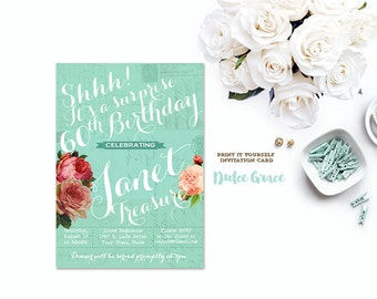 surprise birthday invitation, adult birthday party invitation, milestone birthday, mint invite, 50th, 60th, 70th, 80th, digital invitation