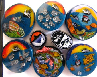 Jacques Cousteau Tribute ~ 6 Millie Coin Greg Chase Rare Collector's Set ~ Glass Murrine Boro ~ Murrina Cabochon Aquarium Glass Shark Week