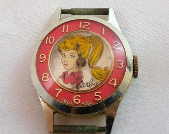 1963 BARBIE WATCH Original Genuine 1963 Swiss Made Mattel Barbie Watch in Pink 1963 Original Pink Barbie Watch for Barbie Fans & Collectors