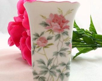 ANDRE RICHARD VASE Andre Richard Floral China Designer Bud Vase Made in Japan Andre Richard Pink Rimmed Floral Hand Painted Bud Vase