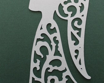 4 Elegant, Lacey, Silver Angel Diecuts,Christmas, Decorations, Scrapbooking, Cardmaking and Other Paper Crafts