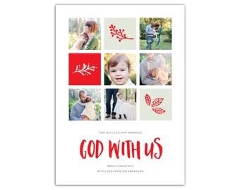 Religious Christmas Cards // Photo Christmas Card // Multiple photo Christmas card // 5x7 Printable Christmas Cards // The Abrahams