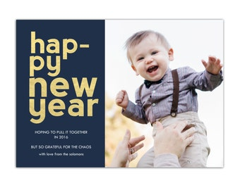 New Year Photo Card // New Year Holiday Card // Funny New Years Card // Late Christmas Card // Printable Photo New Years Card // The Solomon