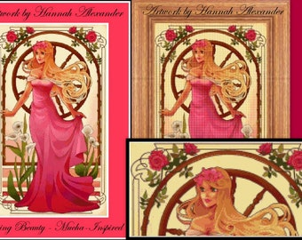 Sleeping Beauty - Mucha-inspired - Artwork by Hannah Alexander - cross stitch pattern - PDF pattern - Instant download!