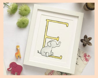 """E is for Elephant. Children's name illustration: 8""""x10"""" mounted print"""