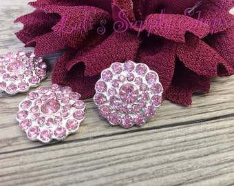 2 - 5 or 10 - Pink Rhinestones FLAT BACK  25mm metal buttons - Rhinestone Embellishments - Flower Centers - Hair bow Centers