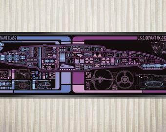 USS Defiant - Defiant Class Starship LCARS Poster