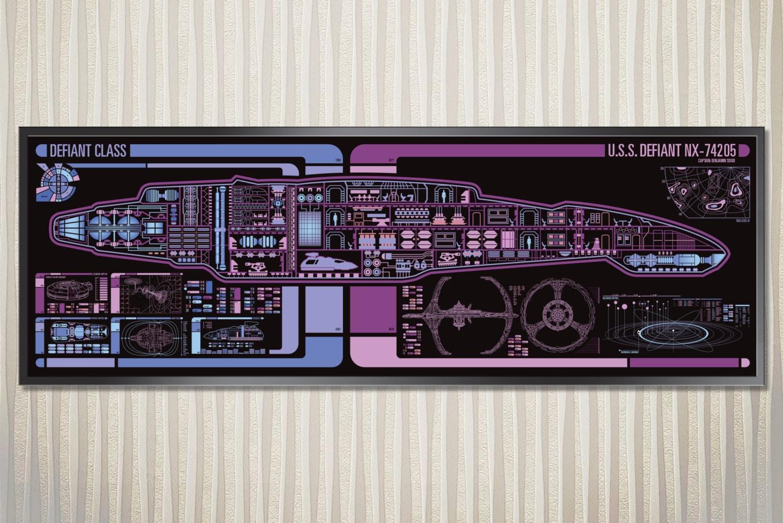 Uss Defiant Defiant Class Starship Lcars Poster