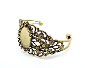 Bronze Cuff Bracelet, Bracelet Blank, Cabochon Setting, Bronze Bracelet, Pack of 1 or 5, Cabochon Cuff, 24x18mm Setting, Supplies, UK Seller