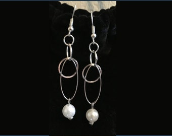Drop Earrings - Circles, Ovals, and Faux Pearl