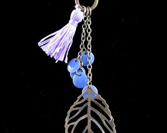 Necklace lasso boho unbalanced color bronze, amethysts, Pompom and sequin Lavender color enamel leaves
