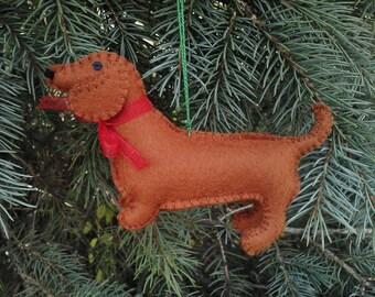 Wool Felt Dachshund Ornament, Dachshund Christmas Tree Ornament, Felt Dog Ornament, Doxie Christmas Tree Ornament