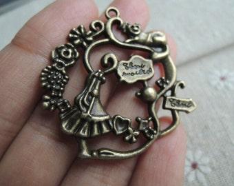 5Pcs  40mm antique bronze flower ring charming (A431)
