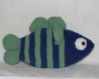"Frank Fish - 6"" Tall x 13"" Long - Huggable, Crocheted, Stuffed Fish"