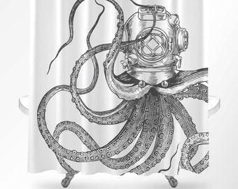 Octopus Shower Curtain, Nautical Shower Curtain, Octopus Bathroom Decor, Scuba Octopus Shower Curtain, Bathroom Decor, Octopus Bathroom