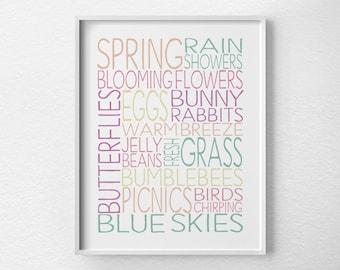 Spring Wall Art, Spring Decor, Spring Subway Art, Spring Print, Spring Art, Easter Decor, Easer Art, Typography Print, Seasonal Decor, 0458