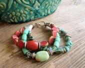 Southwestern Turquoise bracelet, Aqua Picasso bracelet, rustic bracelet, red orange rustic bracelet, summer bracelet-boho bracelet