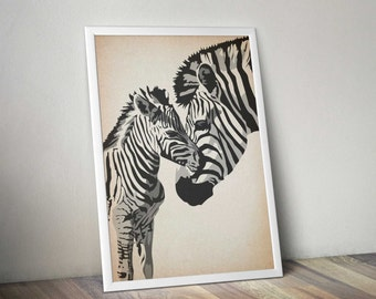 Zebra Mother and Baby Love Poster Vintage Art Illustration Large Wall Art Prints Mothers Day Gift Kids Room Valentines for Mom Gift for Her