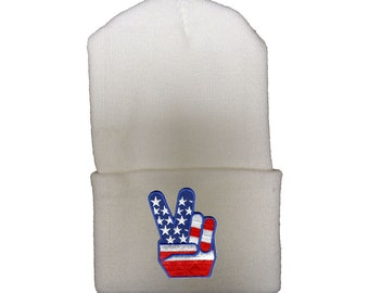 White Winter Ski Hat with US Flag Peace Sign