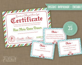 EDITABLE Printable Elf Bundle / Elf Letters / Elf Envelope / Elf Note Cards / Elf Report Cards / Santa Certificate