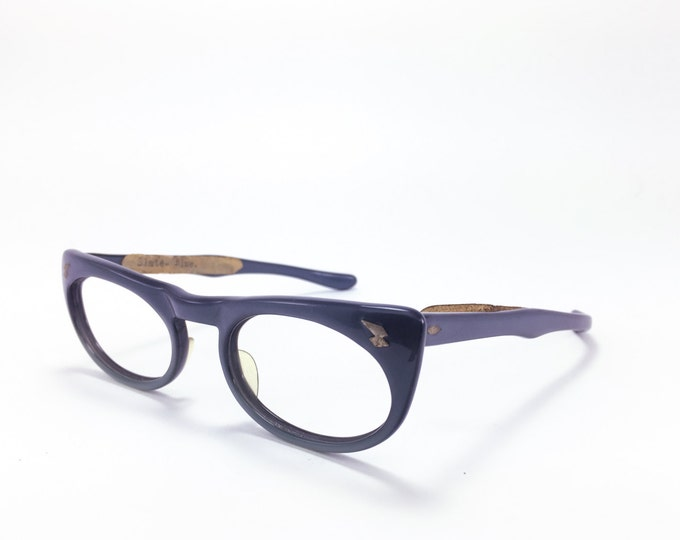 Vintage 1950s Cateye Eyeglasses | 50s Slate Blue Cateye Glasses with Patina | NOS Eyeglass Frame | Deadstock Eyewear - Zest