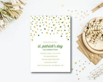 Confetti Burst St. Patrick's day party invitation - printable pdf