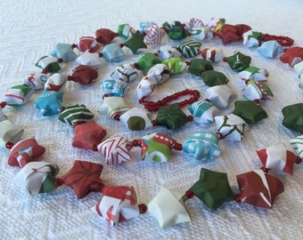 Holiday Paper Origami Star Garland with clear red beads #5
