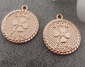 20pcs Rose Gold Four Leaf Clover Charm,Good Luck Charms 22*25mm,