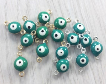 25Pcs Evil Eye Connectors , Evil Eye Beads, Evil Eye  Bracelet  Diy  Supplies