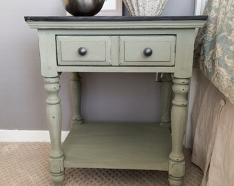 SOLD!!! Gray / Green Painted Nightstand