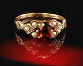 Antique Early Victorian Natural Garnet Seed Pearl 14k Gold Ring