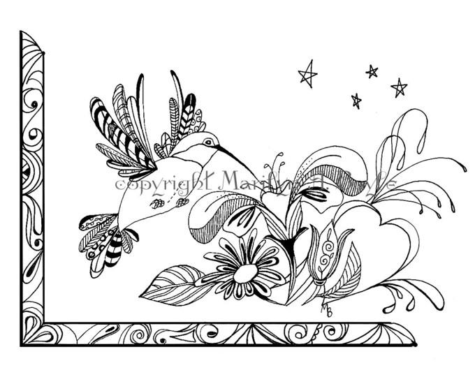 adult coloring page digital dowload hummingbird flowers zentangle doodle original