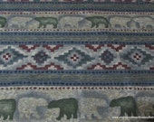 Flannel Fabric - Aztec Bears - By the yard - 100% Cotton Flannel