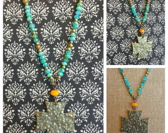 Bohemian Cross Long Necklace