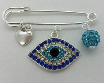 Evil eye pin, evil eye baby, diaper bag pin, hamsa pin, evil eye safety pin, evil eye brooch, baby pin, baby shower gift, unique baby gift