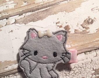 Kitty feltie clip, felt clippie, hair clip