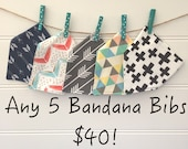 Any 5 Organic Cotton Bandana Bibs Special