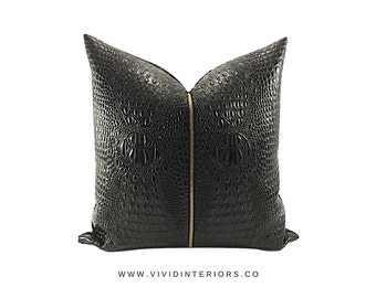 "Black & Gold Pillow // Croc Print // Pillow Cover // Decorative Pillow - 18"" x 18"" / Gifts For Her / Designer Pillow / Custom Pillow"