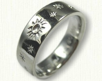 Custom Sun, Moon & Stars Wedding Band  Reverse Etch- 6mm -Sterling Silver,  14kt Any Color Gold