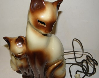 Mid Century Modern 1950's KRON Siamese Cats Tv Lamp with Light Up Eyes bulb included