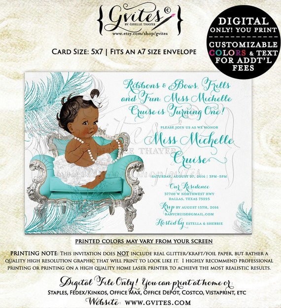 African American first birthday invitation, ribbons bows, diamonds pearls, baby girl, silver white turquoise blue, baby shower invitations.
