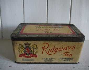 Antique Tea Caddy Tin - Ideal Keepsake Box