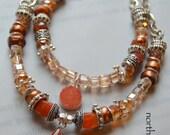 ON SALE carnelian necklace, druzy necklace, boho chic necklace, bohemian necklace, gift for her, teacher gifts, orange bracelet, artisan