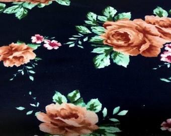 Cotton Spandex 2 way Stretch - Full Bloom Rose