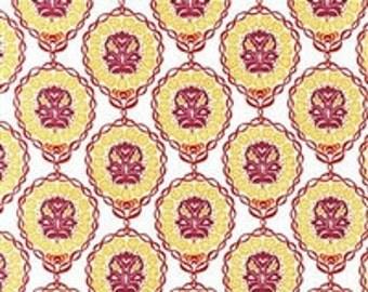 Yellow/Magenta Round Ornate Quill Swirl Quilting Cotton; Robert Kaufman; [[fat quarter//half hard//by the yard]]