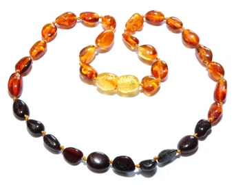 """Genuine Baltic Amber Teething Necklace for Baby 32 cm / 12.6"""" Rainbow Amber Beans"""
