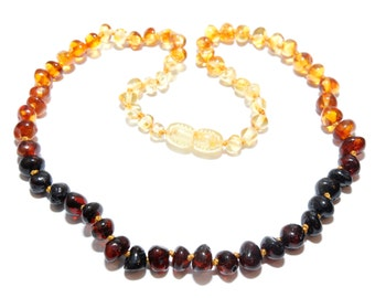 Genuine Baltic Amber Baby Child Teething Necklace Rainbow 38 -40 cm