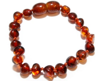Genuine Baltic Amber Baby Teething Bracelet/Anklet Cognac Round Beads Authentic 13.5 - 14.5 cm RBB6